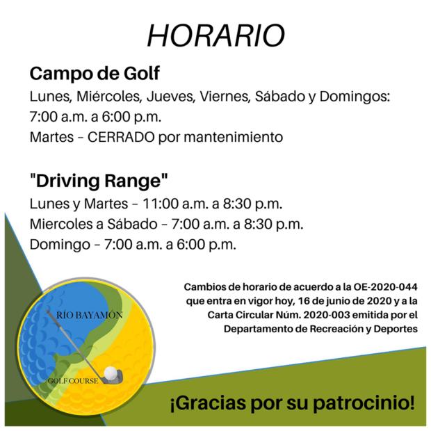Horario Campo de Golf desde el 16 de junio